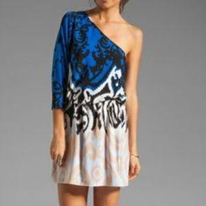 Tibi One-Shoulder Ikat Cocktail Dress - M